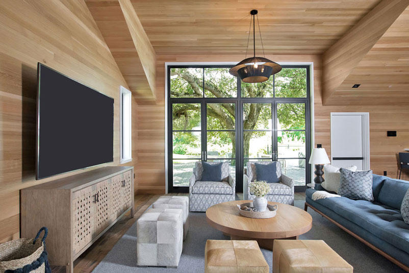 neutral wood sitting area living room by erin king interiors